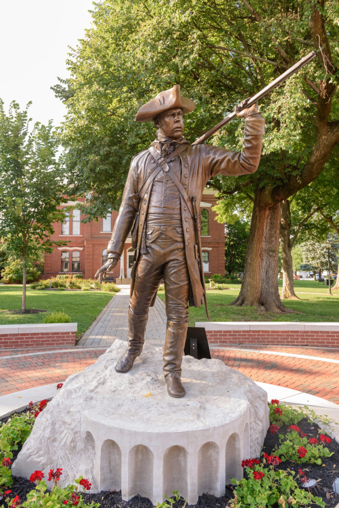 The Colonel William Oldham statue by artist Matt Weir, photographed Thursday, Aug. 2, 2018, on the courthouse square in La Grange, Ky. (Photo by Brian Bohannon)